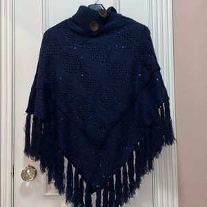 NWT Sequin poncho